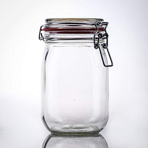 Flaschenbauer- 6 Drahtbügelgläser 1140ml verwendbar als Einmachglas, zu Aufbewahrung, Gläser zum Befüllen, Leere Gläser mit Drahtbügel
