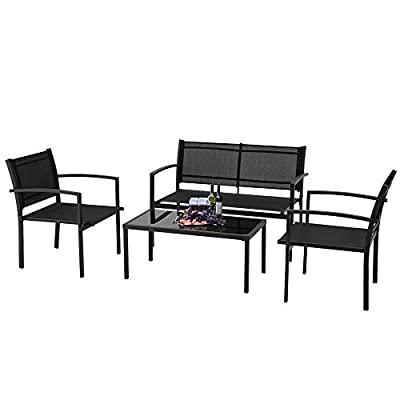 ECOTOUGE 4 Pieces Outdoor Patio Furniture Sets Garden Conversation Sets Chairs with Glass Coffee Table for Garden,Poolside Lawn,Porch, Black