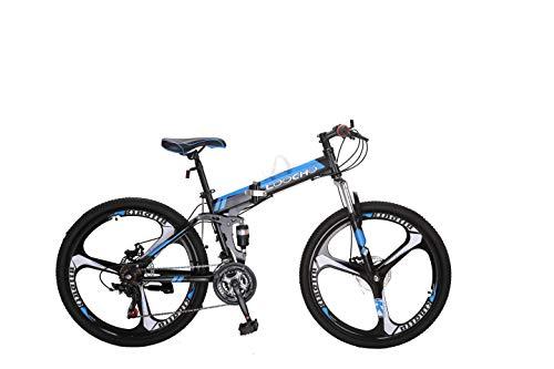 LOOCHO 21 Speed Foldable Mountain Bike 26 Inches 4-Spoke Wheel Dual Suspension Dual Disc Brake MTB Tire Bicycle