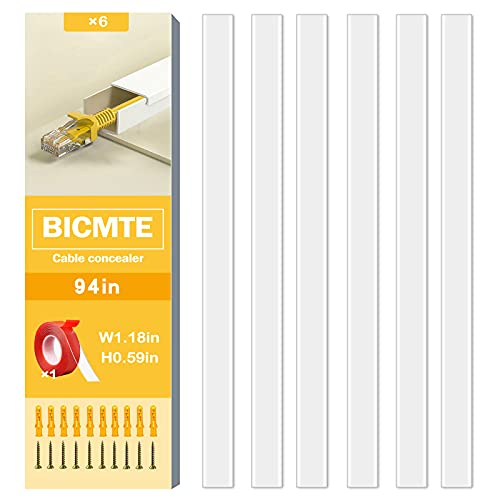 Canaletas para cables | Canaleta Cables Adhesiva Blanco 6x40cm| Usado para ocultar cables pared TV para Home Office