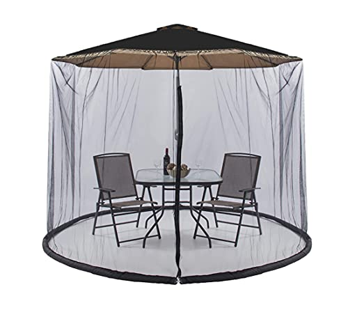 BaiYouDa Patio Mosquito Netting for 8-10ft Table Umbrella, Zippered Garden Umbrella Mesh Enclosure Cover with Water Tube at Base, Polyester Mesh Net Screen Universal for Almost Outdoor Table Umbrellas, Avoid Mosquitoes, Diameter Adjustable, Black