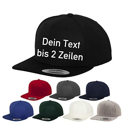 Generisch Original-Flexfit Snapback, Baseball Cap mit Wunschtext oder Namen Bestickt (Rot)