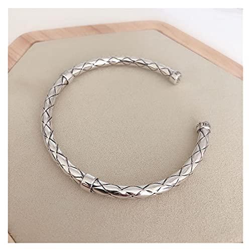 Pulsera, 925 Sterling Silver Rhombus Abrir Brazaletes para Mujeres Hombres Geometric Bangles Bangles Regalos de Joyería (Color : Silver)