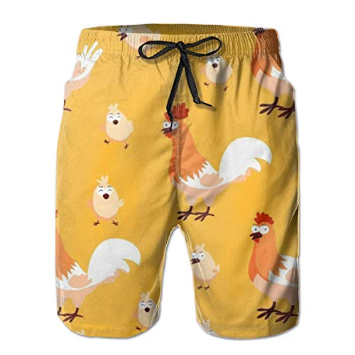 Magictop Pollo Pulcino Stampa Pantaloncini Casual da Uomo Costumi da Bagno Costumi da Bagno Costumi da Bagno Pantaloncini da Golf 2XL