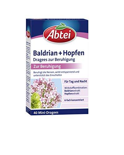 Abtei Baldrian + Hopfen Dragees zur Beruhigung, Nerven, Anspannung, Entspannung, besser Einschlafen, 40 Dragees
