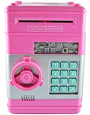 icome Kids Electronic Money Safe Box Password Saving Bank ATM For Coins and Bills (Pink)