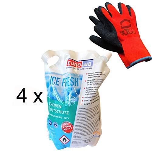 EUROLUB Scheibenfrostschutz Fertigmischung -20°C / 4 x 3 Liter + Winterhandschuhe