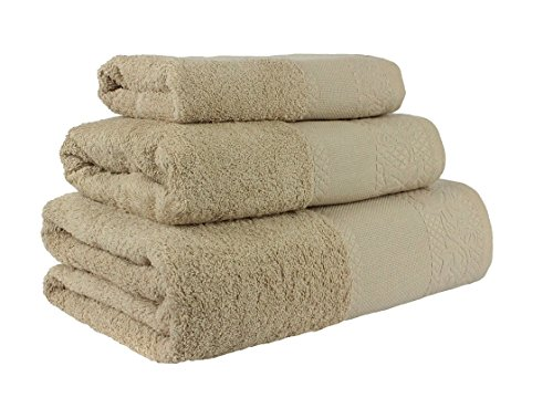 Confort Home M.T (Camel) Juego de Toallas de baño 3 Piezas REGALITOSTV (1 Toalla de baño, 1 Toallas de Manos y 1 Toalla Cara) 100% algodón, Toallas Ligeras y absorbentes. (Camel)