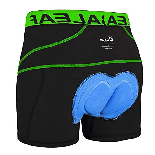 BALEAF Men's Padded Bike Shorts Cycling Underwear 3D Padding Mountain Biking Bicycle Liner Shorts (Green, XL)