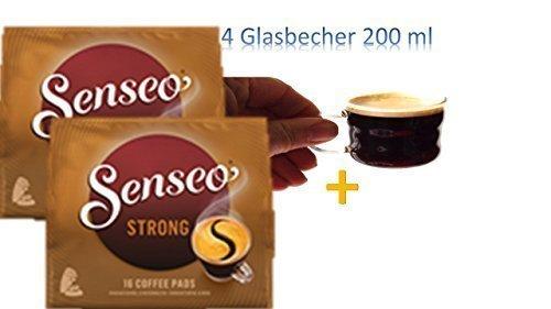 2 Senseo Kaffeepads Kräftig / Strong, Intensiver und Vollmundiger Geschmack, Kaffee, neues Design, 16 Pads 2x + 4 Glastassen mit Henkel 200ml