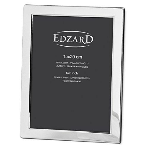 EDZARD Fotorahmen Salerno für Foto 15 x 20 cm, edel versilbert, anlaufgeschützt, mit 2 Aufhängern