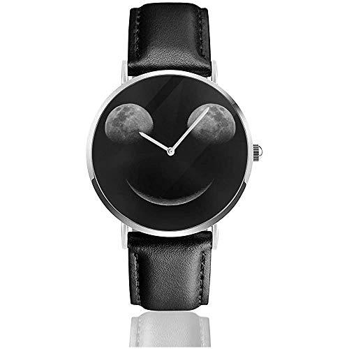Moon Eclipes Smiley Face Uhren Quarzlederuhr mit schwarzem Lederband für Sammlungsgeschenk