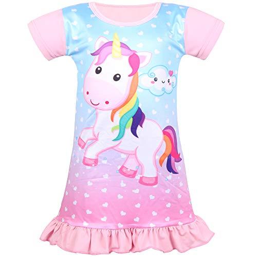 Meisjes Nachthemd Nachthemd Nachthemd Eenhoorn Prinses Cartoon Regenboog Wolk Fairy Jurk Korte mouw voor kinderen Geschenken