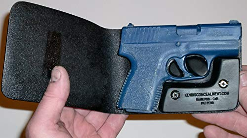 Wallet Holster for Full Concealment - Kahr PM9/CM9 (Black, Right Hand, Viridian R5)