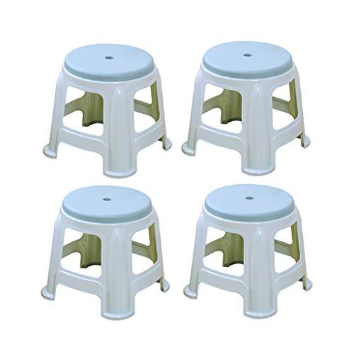 CJX-Step Stools Kunststoff-Stapelhocker, stummschalten, Rutschfester Home-Hocker verdicken robusten Kunststoffhocker 4 Hocker Zwei Größen Kinderhocker (Farbe : Blau, größe : 29CM)