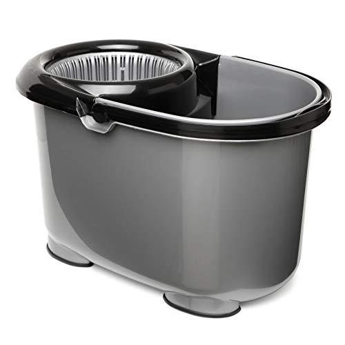 Tatay Twister Cubo de Fregar con Sistema de Escurrido Automático 360º, Capacidad para 12 l, Plástico Polipropileno, Gris y Negro, 47,5 x 28,5 x 28 cm