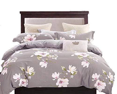 Swanson Beddings Magnolia Reversible Floral Print 3-Piece 100% Cotton Bedding Set: Duvet Cover and Two Pillow Shams (Queen)