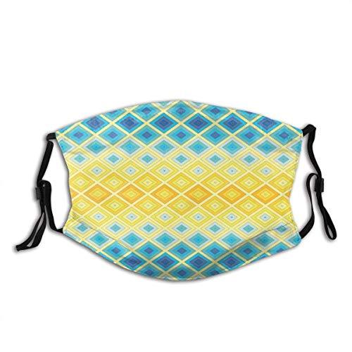 Protector bucal geométrico étnico mosaico, formas de rombo cuadrícula, colores vivos, pasamontañas, bandanas para el cuello, con 2 filtros