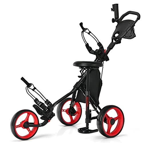 Tangkula Golf Push Pull Cart with Seat, Lightweight Folding 3 Wheels Golf Push Cart, Golf Trolley W/Storage Bag, Foot Brake, Adjustable Umbrella Holder & Seat, 4 Height Position Handle (Red)
