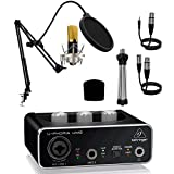 Audibax Berlin 1800 Gold Pro Pack Micrófono + Soporte + Antipop + Cables + Interface Behringer UM2