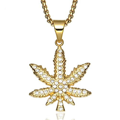 Aruie - Collar con colgante para hombre de acero con diamante simulado de circonio incrustado en hoja de Cannabis Marihuana dorada Bling Bijoux