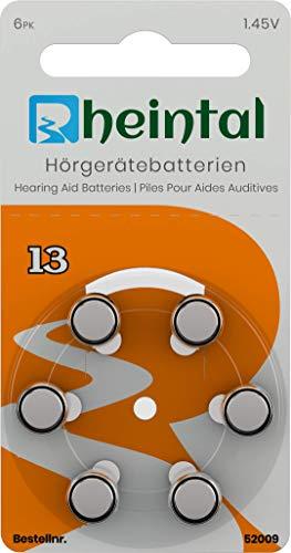Rheintal 30 Premium Hörgerätebatterien Typ A13 für alle Hörgeräte mit Batteriefarbe ORANGE - 1,45V - 280mAh - PR48