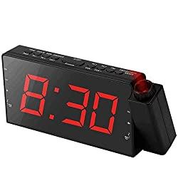 "Alarm Clock Projection on Ceiling, FM Radio Wall Clock, 7""LED Digital Desk/Shelf Clock with Dimmer, USB Charging Port, Battery Backup for Bedroom Kitchen Table Kids"