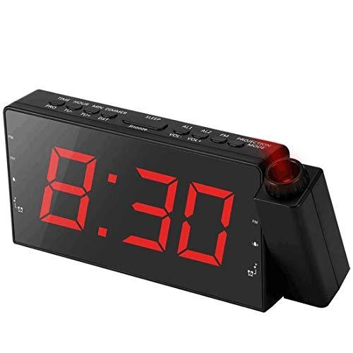 "Alarm Clock Projection on Ceiling, FM Radio Wall Clock, 7""LED Digital Desk/Shelf Clock with Dimmer, USB Charging Port, Battery Backup for Bedroom Kitchen Table Kids"