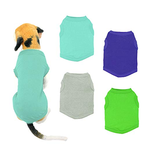 YAODHAOD Solid Color Dog T-Shirts Clothes, Cotton Shirts Soft and Breathable, Dog Shirts Apparel Fit for Small Extra Small Medium Dog Cat 4pcs (M)