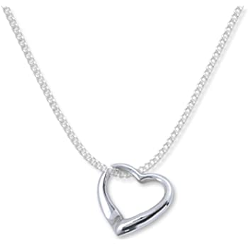 """Pouch UK Solid Sterling silver Open Heart Necklace 16/"""" Sterling Silver Chain"""