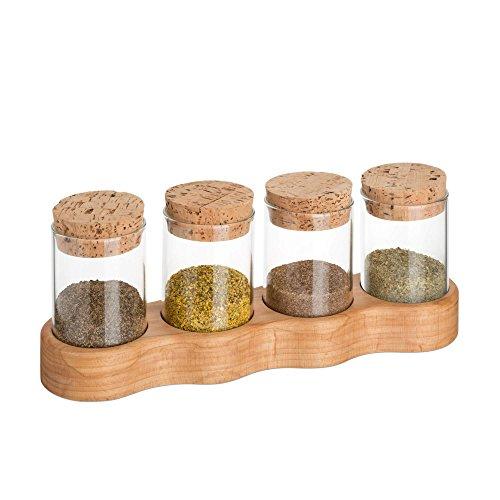 Tuuters Design kruidenrek van massief hout, inclusief hoogwaardige glazen en kurken