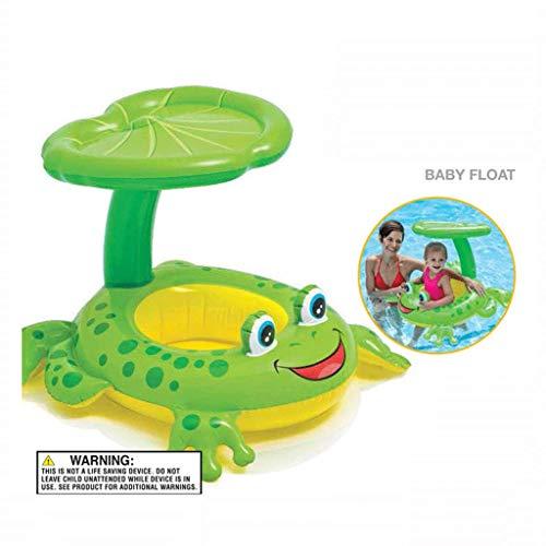 MRWJ Babyboot Schwimmsitz Schwimmring Aufblasbares Schwimmfloß Wasser Auto Boje Aufblasbarer Sitz Schwimmbad für Kinder mit Sonnenblende, grün-119cm x 79cm