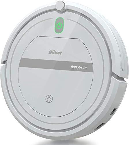 Aiibot Saugroboter mit Starker Saugkraft, Flaches Staubsauger Roboter, Fallschutz, Roboterstaubsauger für Tierhaare, Teppiche und Hartböden, HEPA(weiß-288)