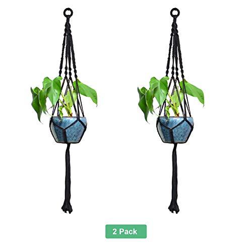 Anivia 1 & 2 & 4 Pack Pflanze Kleiderbügel Makramee Pflanze Kleiderbügel Pflanze Kleiderbügel Schwarz Indoor Outdoor Pflanze Kleiderbügel Home Decor (2 Pack)