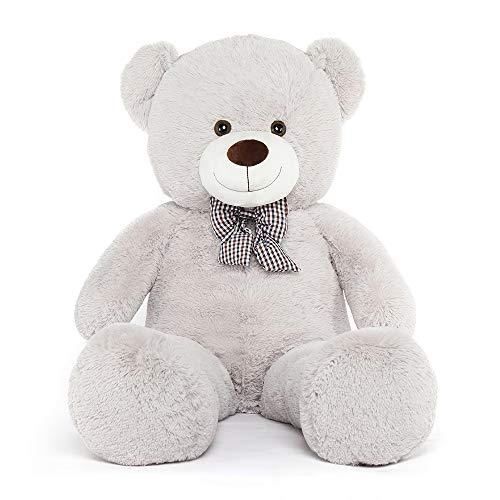MorisMos Giant Teddy Bear Stuffed Animals Plush Toy for Girlfriend Kids (Light Grey, 47 Inches)