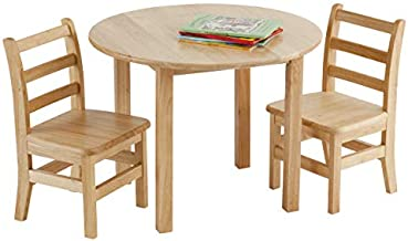 ECR4Kids 30-Inch Round Natural Hardwood Table, 22-Inch Height with Two 12-Inch Chairs, 3-Piece Set, Kids' Furniture, Children's Solid Wood Table and Ladderback Chair Set for Classroom, Playroom, Natural Wood, Model Number: ELR-22101