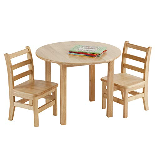 ECR4Kids 30Inch Round Hardwood Table with Two 12Inch Ladderback Chairs Kids#039 Homeschool Table and Chair Set Children's Solid Wood Desk and Seating Natural Finish 3Piece Set