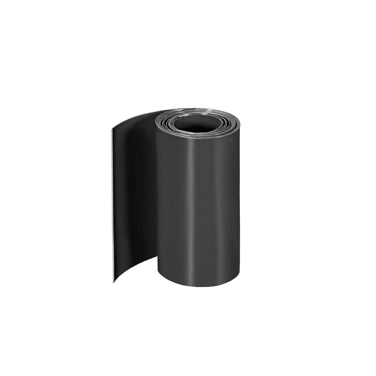 マニュアル素晴らしいです止まるuxcell PVC熱収縮チューブ 75mmフラット幅 5 M ラップ 三つ18650用 ブラック