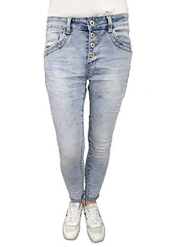 Jewelly de Lexxury Baggy Boyfriend Mujer Stretch Pantalón Cierre de Botones