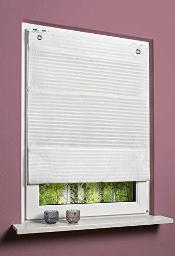 SCHMIDTGARD STOFFE Magnetrollo ohne Bohren Raffrollo Blickdicht Querstreifen Uni H x B 130x 100 cm weiß