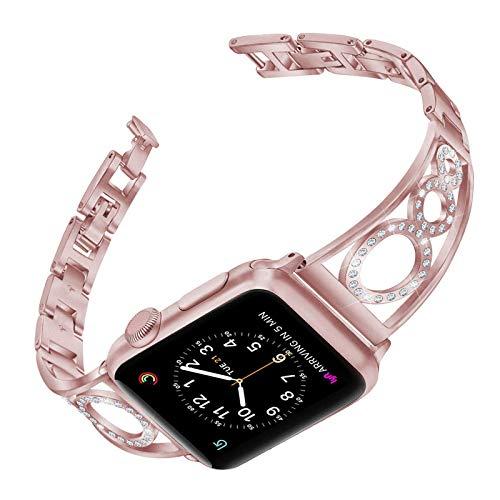 Fhony Correa Compatible con Correa Apple Watch 38mm 40mm 42mm 44mm Banda de Reloj de Acero Inoxidable y Diamantes Correa Correa de Repuesto para Iwatch Series 6/5/4/3/2/1/SE,Rosado,38/40mm