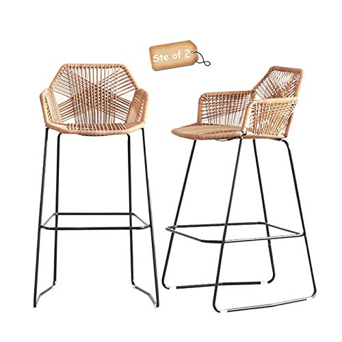 Bar Stools Set of 2 Counter Height Nordic Bar Stools Simple Style Restaurant Cafe Back High Back Stools Iron Rattan Wicker High Back Chair, Black Metal Legs Boho Bar Stools (Height 65cm(25.6inch))