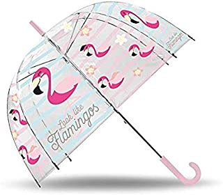 Kids Paraguas Transparente Campana 48cm Manual de Flamencos Paraguas Clásico, 80 cm, Multicolor