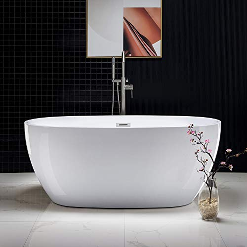 WOODBRIDGE Acrylic Freestanding Bathtub Contemporary Soaking Tub with Brushed Nickel Overflow...