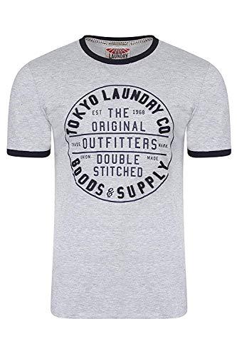 Tokyo Laundry uomo doppio con cuciture di marca feltro Applique T SHIRT - Grigio Chiaro Melange, Taglia M - Torace 101cm