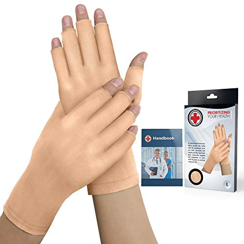 Dr. Arthritis - Arthrose Handschuhe Fingerlos inkl. Handbuch vom Arzt - Kompressionshandschuhe - (Paar) Fingerlose Handschuhe Damen & Herren - Ideal Bei Arthritis, Raynaud Syndrom & Co. - Nude (L)