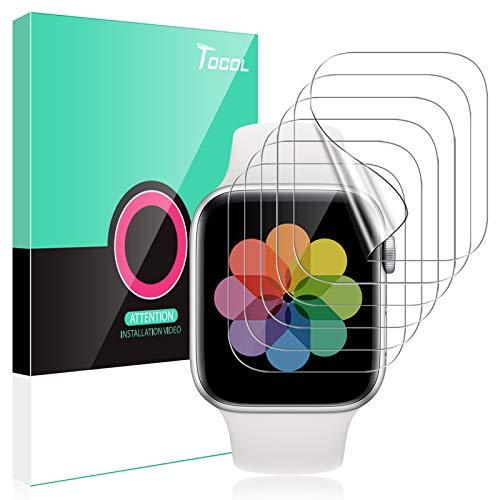 TOCOL 6 Piezas Protector de Pantalla Compatible para Apple Watch Series 6 5 4 SE 44MM y Apple Watch Series 3 2 1 42MM No Vidrio HD Clear Soft TPU Film Protector de Pantalla para iwatch 44MM y 42MM