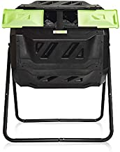Large Compost Tumbler Bin -Outdoor Garden Rotating-Dual Compartment - Better Air Circulation Efficient Compost- BPA Free-Sturdy Steel Frame - 43Gallon (2-21.5Gal)- Green Door