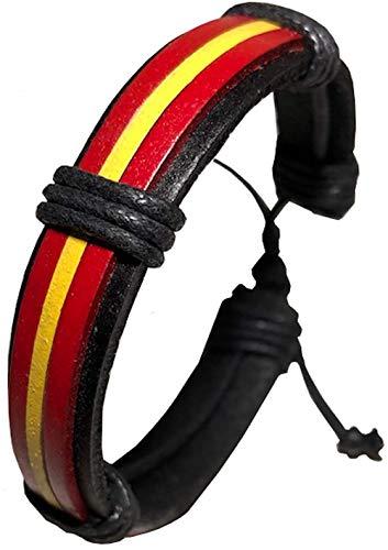 A ALEGORITY Pulsera Bandera España, diseño Elegante Colores Intensos. Pulseras de Cuero Hombre y Mujer