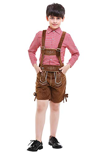 prettycos Jungen Oktoberfest Kostüm Bayern Karneval Kinder Baumwolle Karneval Hemd mit Lederhose für Bierfest Karneval Party Gr. 80, Red+brown